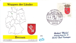 BERLIN WAPPEN DER LANDER BREMEN1992 COVER   FDC   (GEN190263) - FDC: Sobres