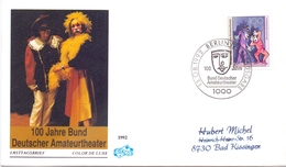 BERLIN 100 JAHRE BUND DEUTSCHER AMATEURTEATER 1992 COVER   FDC   (GEN190264) - FDC: Sobres