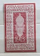 REPUBBLICA CECA 1913 ESPOSIZIONE ARCHITETTURA DECORATIVA   ERINNOFILO CHIUDILETTERA  ETICHETTA PUBBLICITARIA - Francobolli