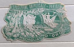 PARIGI 1900 ESPOSIZIONE UNIVERSALE MEDAGLIA D'ORO   ERINNOFILO CHIUDILETTERA  ETICHETTA PUBBLICITARIA - Francobolli
