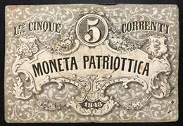 Venezia 5 Lire Moneta Patriottica 1848 Firma Barzilai  LOTTO 398 - [ 4] Emissions Provisionelles