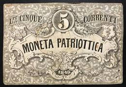 Venezia 5 Lire Moneta Patriottica 1848 Firma Barzilai  LOTTO 398 - [ 4] Voorlopige Uitgaven