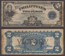 Philippines 2 Pesos ND 1944 (F) Condition Banknote P-95 VICTORY - Filippijnen