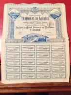 Cie  Des  TRAMWAYS  De  LOURDES  -----Action. De 100 Frs - Chemin De Fer & Tramway