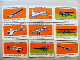 9 Matchbox Labels Safety Matches Ceskoslovenska Letadla Plane Avion Aviation Airplanes - Matchbox Labels