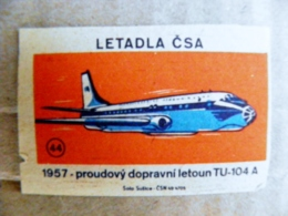 Matchbox Labels Safety Matches Ceskoslovenska Letadla Plane Avion Aviation Airplanes Letadla Csa Label Tu-104 Ussr - Matchbox Labels