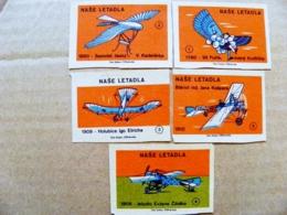 5 Matchbox Labels Safety Matches Ceskoslovenska Letadla Plane Avion Aviation Airplanes Nase - Matchbox Labels