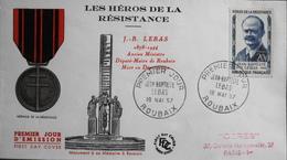 FDC 1957 - Les Héros De La Résistance Jean-Baptiste LEBAS Y & T N° 1104 - Roubais Le 15.10.1955 - En TBE - 1950-1959
