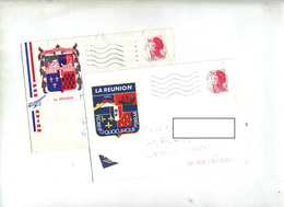 Lettre Flamme Muette Saint Louis Reunion Illustré Armoirie - Machine Stamps (ATM)