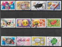 2018 FRANCE Adhésif 1558-69 Oblitérés,cachet Rond,  Emoji, Série Complète - Autoadesivi