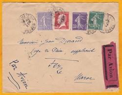1927 - Enveloppe Par Avion Précurseur De Neufchateau, Vosges Vers Fez, Maroc - Ligne Mermoz - Affrt 1 F 50 - Cad Arrivée - Marcophilie (Lettres)