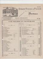 PUB - VIN - BORDEAUX - ENTREPOT VINICOLE DE PALUDATE - 4 PAGES - 1912 - Alcools