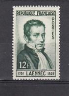 1952 - YT N° 936** 12fr Vert Foncé - René Laennec - France