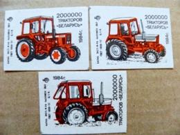 3 Matchbox Labels Safety Matches Ussr Belarus Tractors Transport 1984 - Matchbox Labels