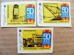 3 Matchbox Labels Safety Matches Ussr 1977 Sverdlovsk Russia - Matchbox Labels