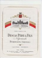 PUB - VIN - BORDEAUX - DESCAS PERE ER FILS  - 4 PAGES - 1976 - Alcools