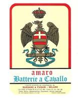 """2330 """" AMARO BATTERIE A CAVALLO - SASSANO E PAGANI-MILANO-ITALIA """" ETICHETTA ORIGINALE - Etichette"""