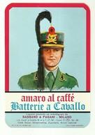 """2331 """" AMARO AL CAFFE' BATTERIE A CAVALLO - SASSANO E PAGANI-MILANO-ITALIA """" ETICHETTA ORIGINALE - Etichette"""