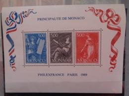 MONACO 1989 BLOC Y&T N° 47 ** - EXPOSITION PHILATELIQUE MONDIALE A PARIS - Monaco