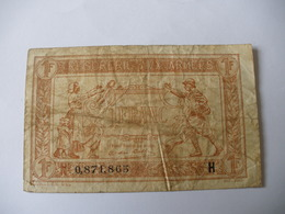 1 F TRESORERIE AUX ARMEES TYPE 1917 SERIE H - Treasury