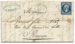 N° 14 BLEU NAPOLEON SUR LETTRE / MAYENNE POUR ROUEN / 26 JUIN 1856 / VARIETE POSTFS - Poststempel (Briefe)