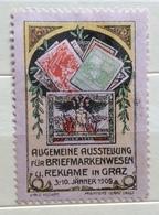 GRAZ 1909 ALLGEMEINE AUSSTELLUNG   BRIEFMARKENWESEN REKLAME  ERINNOFILO CHIUDILETTERA  ETICHETTA PUBBLICITARIA - Francobolli