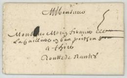 LàC 1697 De Paris à M. Morin Fermier De La Caillère à Thiré (Vendée) . Marque 5 Sols . - Postmark Collection (Covers)