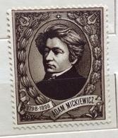 POESIA LETTERATURA  ADAM  MICKIEWICZ   ERINNOFILO CHIUDILETTERA  ETICHETTA PUBBLICITARIA - Francobolli