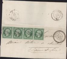 YT 12 Napoléon Empire Non Dentelé 5ct Sur Lettre Bande De 4 CAD Perlé Type 22 Bondy 17 Mai 63 60 GC 520 I12 - 1862 Napoléon III