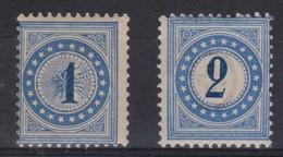 SUISSE TAXE 1878-82 :  Petit Lot De Timbres Bleus, Types I Et II, Neufs*  Et Oblitérés - Portomarken
