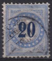 SUISSE TAXE 1878-82 : Le 20c  Bleu, Types II N, Papier Mêlé,  Oblitéré - Segnatasse