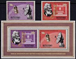 A1166 AITUTAKI 1977, SG 218-MS220 Telephone Centenary,  MNH - Aitutaki