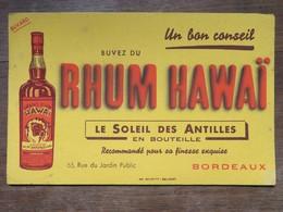 Buvard : RHUM HAWAI, Le Soleil Des Antilles, Bordeaux - Liqueur & Bière