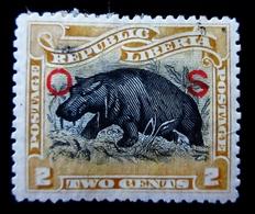 1898  Liberia Yt S28 .Pygmy Hippopotamus (Choeropsis Liberiensis) - Overprint O S  . Oblitéré - Liberia