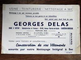 Buvard : GEORGES DELAS, Usine, Teinturerie, Nettoyage à Sec, Caudéran, BORDEAUX - Textile & Vestimentaire