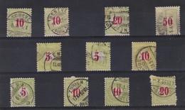 SUISSE TAXE 1878-82 : Petit Lot De Timbres Vert Pâle Et Vert Jaune, Oblitérés - Portomarken