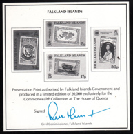 Falkland Islands 1983 MNH Sc #371-#374 Black Print For Commonwealth Collection - Falkland