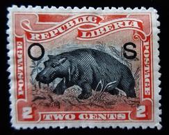 1900  Liberia Yt S37  .Pygmy Hippopotamus (Choeropsis Liberiensis) - Overprint O S .  Neuf Trace Charnière - Liberia