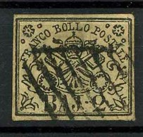 STATO PONTIFICIO - 1852 -catalogo Sassone N° 3Aa - 2 Baj Bianco Verdastro- Usato - Papal States