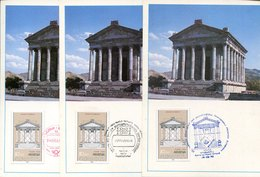42016 Armenia,  3 Maximum  With Different Postmarks 1993,  Archeology, The Greco Roman Temple Of Garni,  Architecture - Armenia