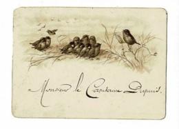 Carton Illustré Avec Tranche Dorée 110 X 80 Mm Classe De Chant Pour Moineaux - Menu Au Verso Du 15 Décembre - Menus