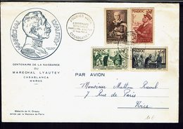 MAROC - Série Centenaire De La Naissance Du Maréchal Lyautey Sur Enveloppe 1er Jour - Cachets De Casablanca 17 Nov. 1954 - Marocco (1891-1956)