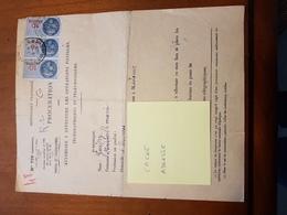 TIMBRE FISCAL 3 X 10F BLEU SUR PROCURATION POSTALE - Revenue Stamps