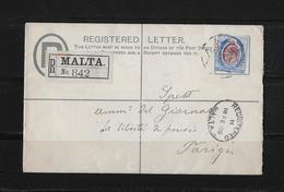 1908 Malta, GU ZuF R-Brief - Malte