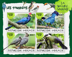 TOGO 2018 - Turacos II. Official Issue. - Coucous, Touracos