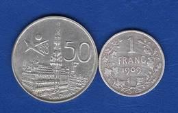 BELGIQUE 2pièces ARGENT - 1909-1934: Albert I