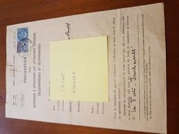 TIMBRE FISCAL 100F BLEU SUR PROCURATION POSTALE+ TIMBRE TAXES COMMUNALES 10F - Revenue Stamps
