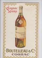 Cognac - Boutelleau & C - °publicité Ancienne Sur Carton Très Bel état - Pub Alcool 18.5 X 29 Cm - Impr Champenois Paris - Alcools