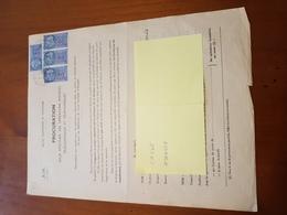 TIMBRE FISCAL 4 X 60F BLEU SUR PROCURATION POSTALE - Revenue Stamps