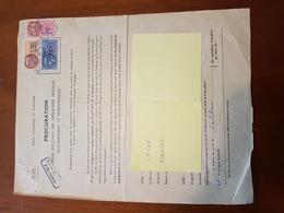 TIMBRE FISCAL 100F BLEU + 135F ORANGE + 5F ROUGE SUR PROCURATION POSTALE - Revenue Stamps